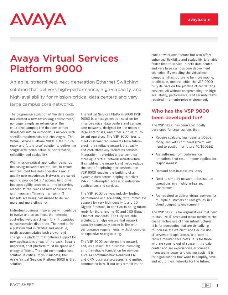 Avaya VSP 9000 Virtual Servers