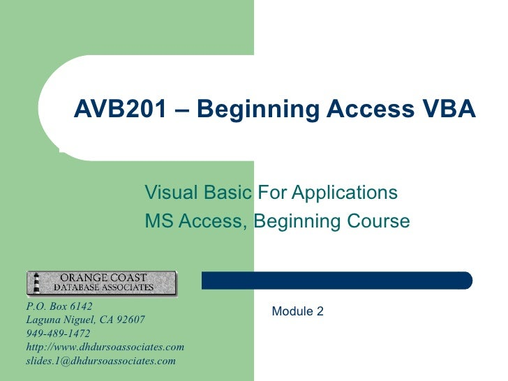 AVB201.2 Microsoft Access VBA Module 2