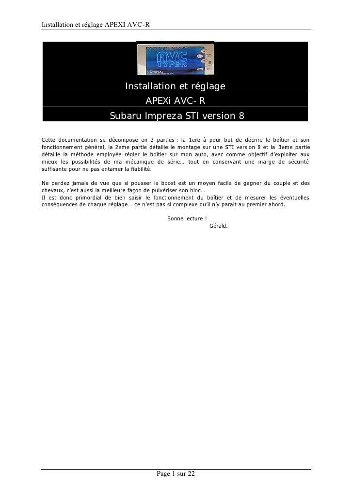 Installation et réglage APEXI AVC-R                                   Installation et réglage                             ...