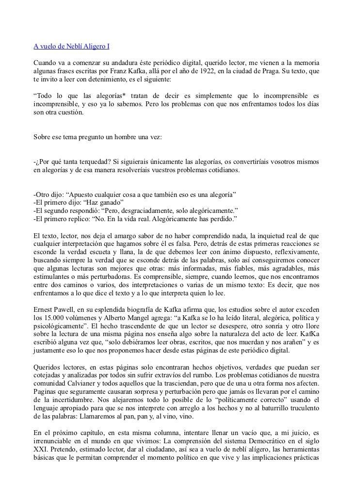 A vuelo de Neblí Aligero ICuando va a comenzar su andadura éste periódico digital, querido lector, me vienen a la memoriaa...