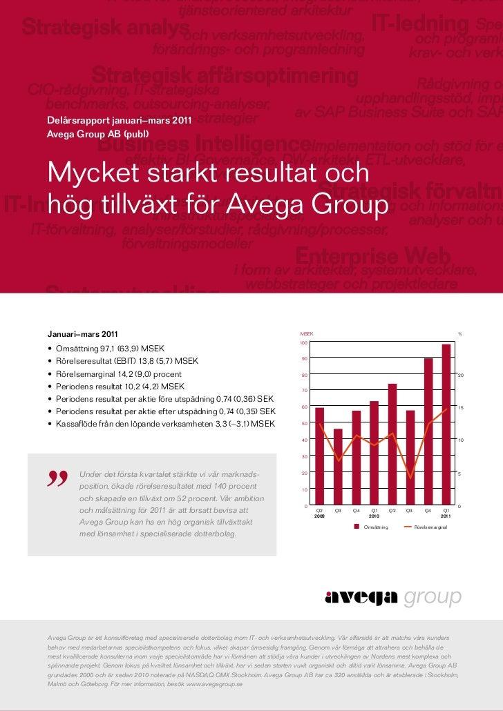 Delårsrapport januari–mars 2011Avega Group AB (publ)Mycket starkt resultat ochhög tillväxt för Avega GroupJanuari–mars 201...