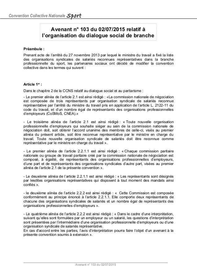Convention Collective Nationale Sport Avenant n° 103 du 02/07/2015 relatif à l'organisation du dialogue social de branche ...