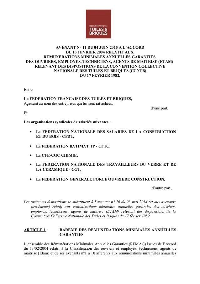 AVENANT N° 11 DU 04 JUIN 2015 A L'ACCORD DU 13 FEVRIER 2004 RELATIF AUX REMUNERATIONS MINIMALES ANNUELLES GARANTIES DES OU...