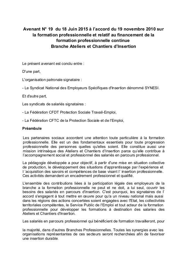 Avenant N° 19 du 18 Juin 2015 à l'accord du 19 novembre 2010 sur la formation professionnelle et relatif au financement de...