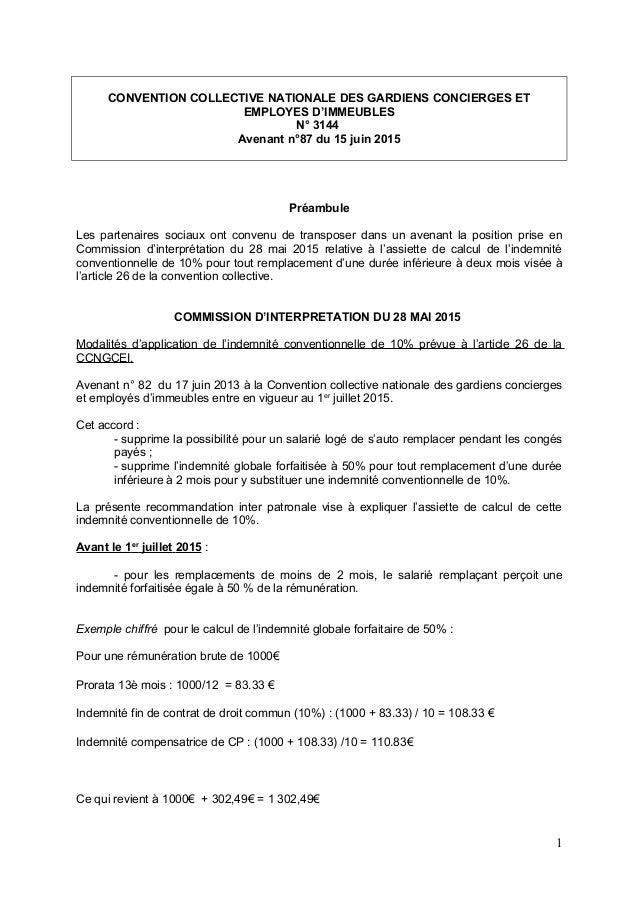 CONVENTION COLLECTIVE NATIONALE DES GARDIENS CONCIERGES ET EMPLOYES D'IMMEUBLES N° 3144 Avenant n°87 du 15 juin 2015 Préam...