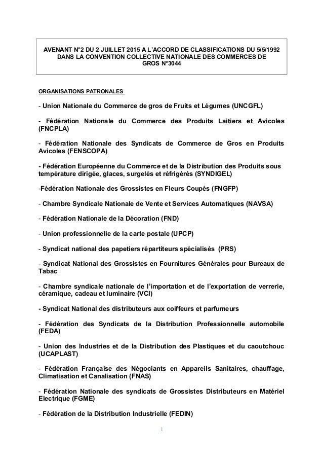 AVENANT N°2 DU 2 JUILLET 2015 A L'ACCORD DE CLASSIFICATIONS DU 5/5/1992 DANS LA CONVENTION COLLECTIVE NATIONALE DES COMMER...