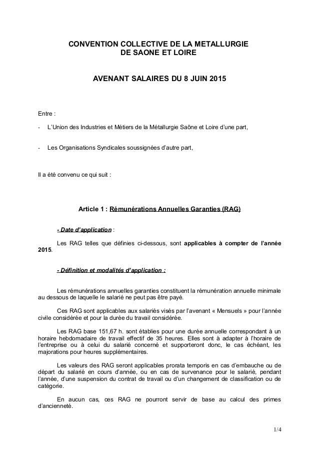 CONVENTION COLLECTIVE DE LA METALLURGIE DE SAONE ET LOIRE AVENANT SALAIRES DU 8 JUIN 2015 Entre : - L'Union des Industries...