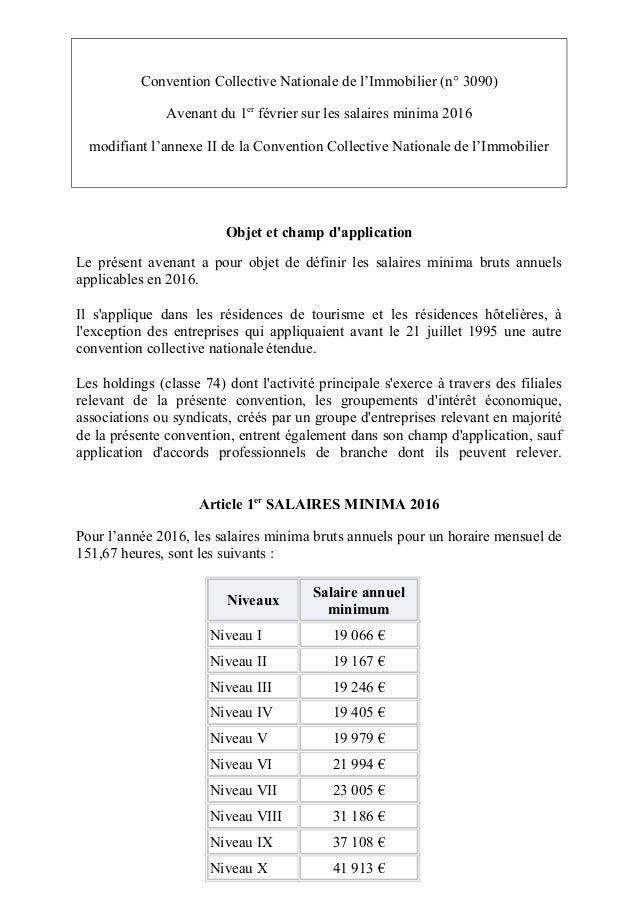 Idcc 1527 avenant salaires 2016 r sidence tourisme - Grille des salaires education nationale ...