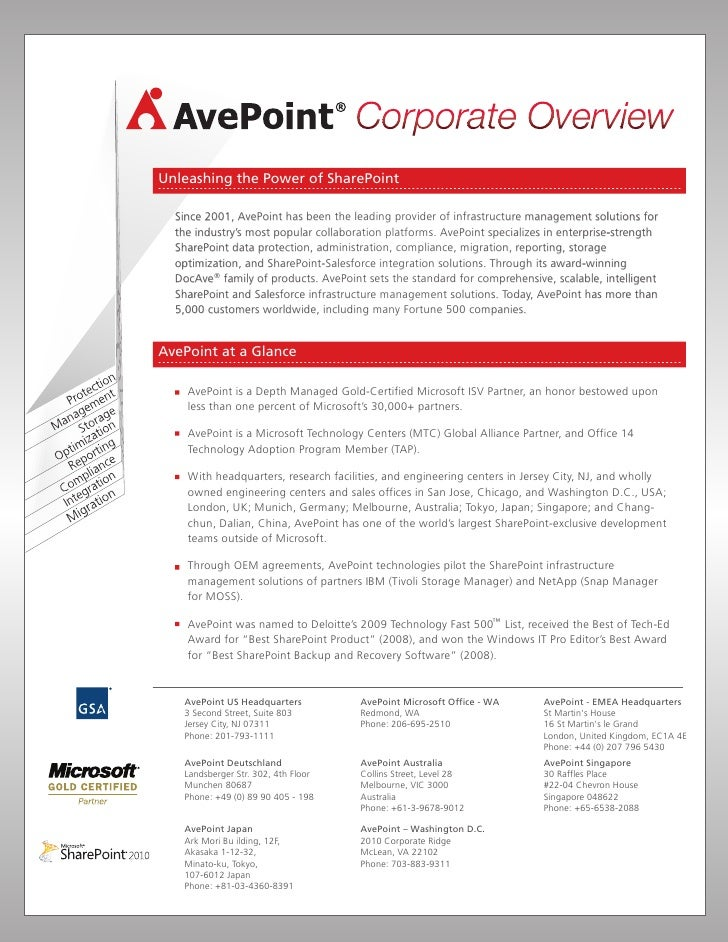 Unleashing the Power of SharePoint    Since 2001, AvePoint has been the leading provider of infrastructure management solu...