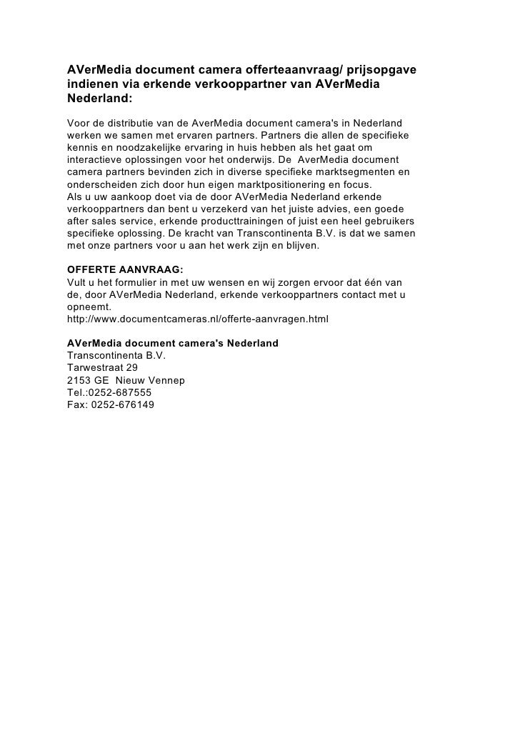 AVerMedia document camera offerteaanvraag