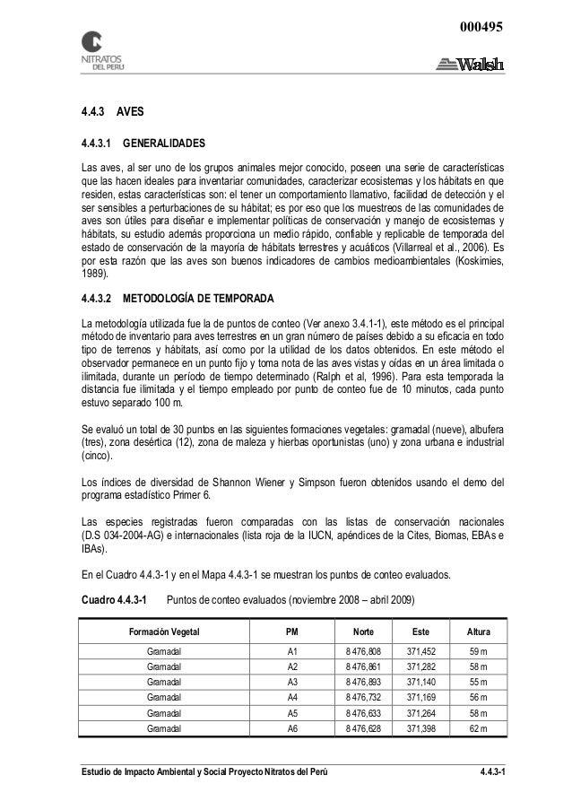 Estudio de Impacto Ambiental y Social Proyecto Nitratos del Perú 4.4.3-1 4.4.3 AVES 4.4.3.1 GENERALIDADES Las aves, al ser...