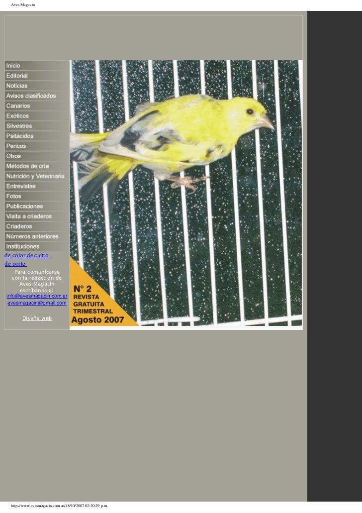 Aves Magacinde color de cantode porte    Para comunicarse   con la redacción de      Aves Magacin      escríbanos a:info@a...
