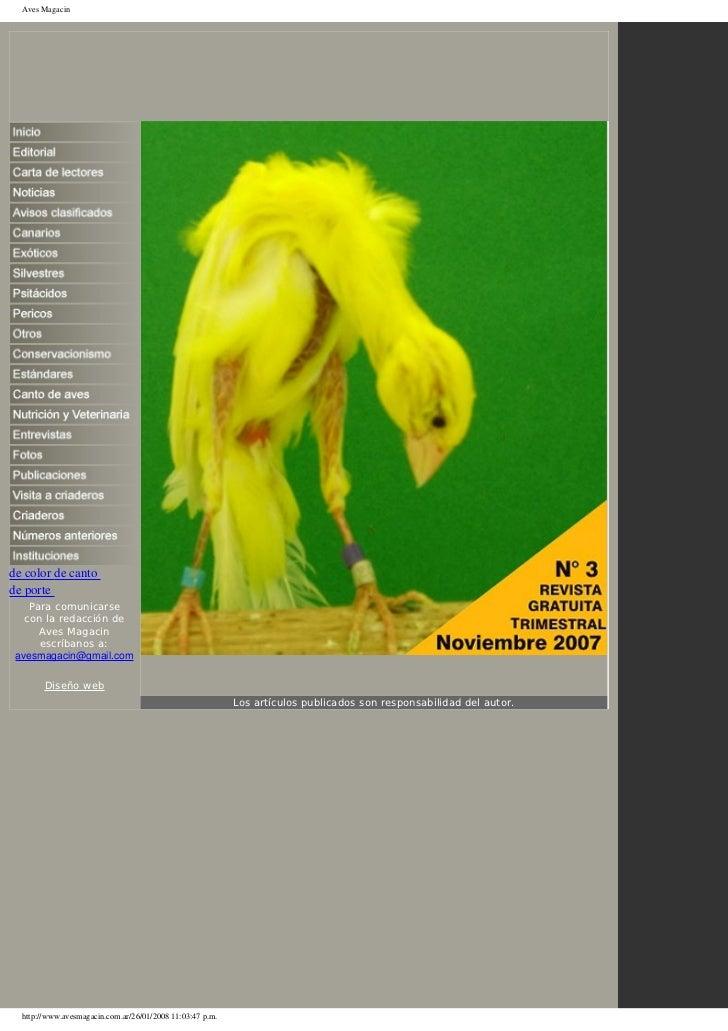 Aves Magacinde color de cantode porte    Para comunicarse   con la redacción de      Aves Magacin      escríbanos a: avesm...