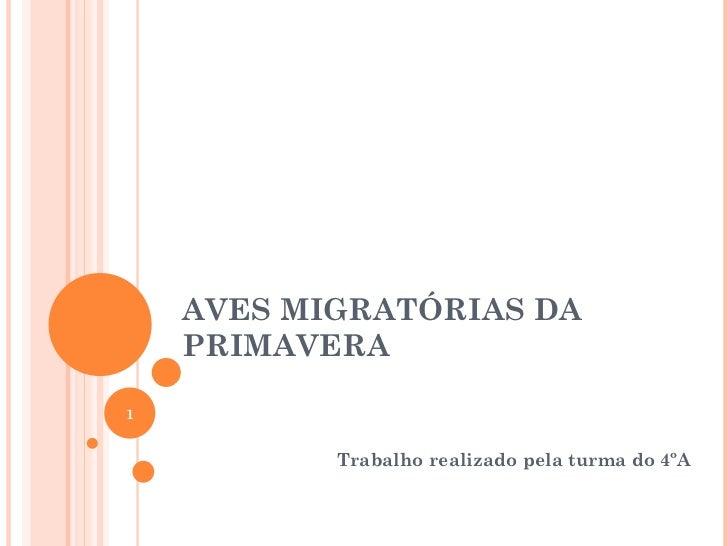 AVES MIGRATÓRIAS DA PRIMAVERA Trabalho realizado pela turma do 4ºA
