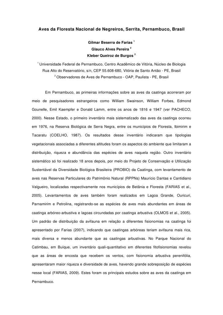 Aves da Floresta Nacional de Negreiros, Serrita, Pernambuco, Brasil                                    Gilmar Beserra de F...