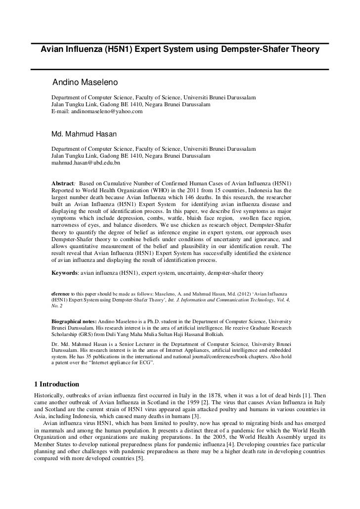 Avian Influenza (H5N1) Expert System using Dempster-Shafer Theory       Andino Maseleno       Department of Computer Scien...