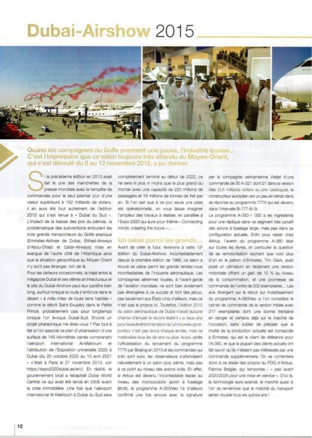 12  Dubai-Airshow 2015     Quand les compagnies du Golfe prennent une pause.  Findustrie tousse. .. C'est Fimpression que ...