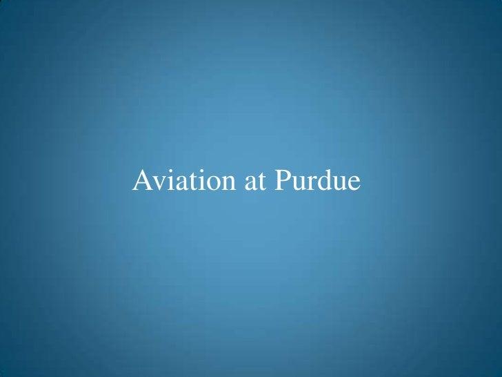 Aviation at purdue