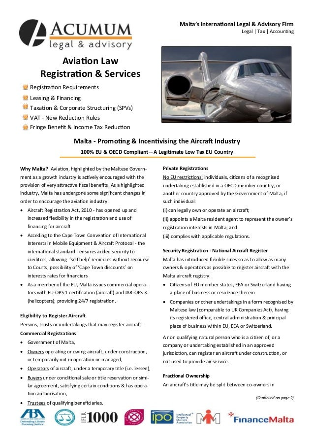 Aviation Law Registration & Services Registration Requirements Leasing & Financing Taxation & Corporate Structuring (SPVs)...