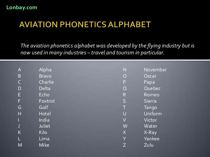 AVIATION PHONETICS ALPHABET<br />The aviation phonetics alphabet was developed by the flying industry but is now used in m...