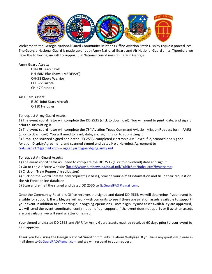 Aviation Static Display Request Instructions