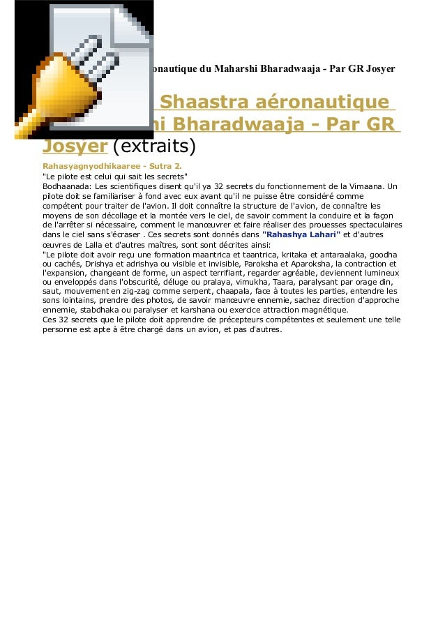 Vymaanika Shaastra aéronautique du Maharshi Bharadwaaja - Par GR Josyer (extraits) Vymaanika Shaastra aéronautique du Maha...