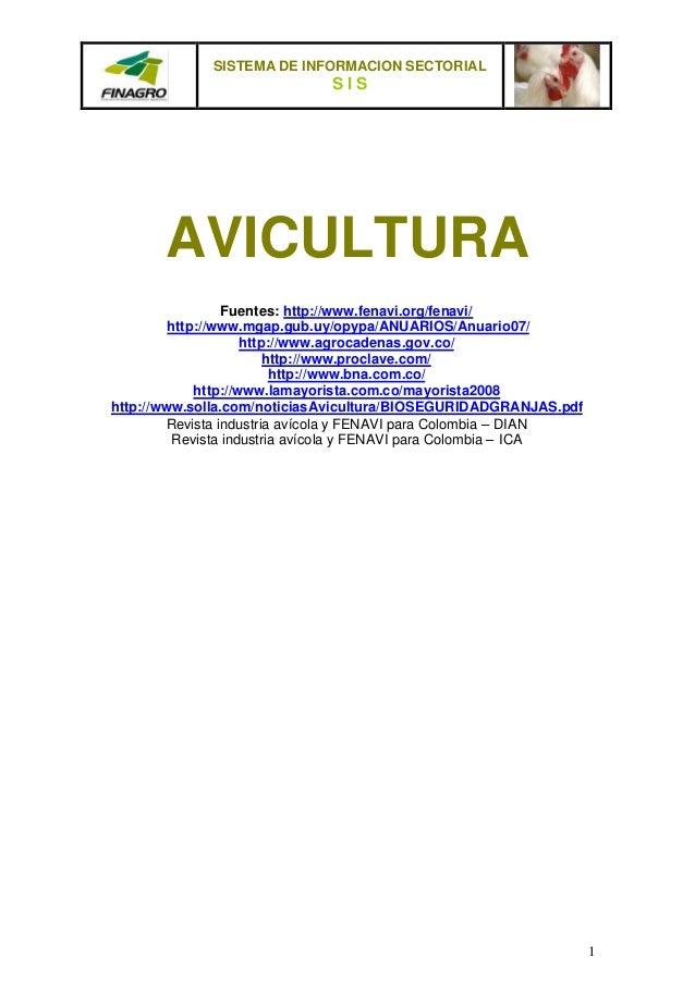 SISTEMA DE INFORMACION SECTORIAL                             SIS       AVICULTURA                  Fuentes: http://www.fen...