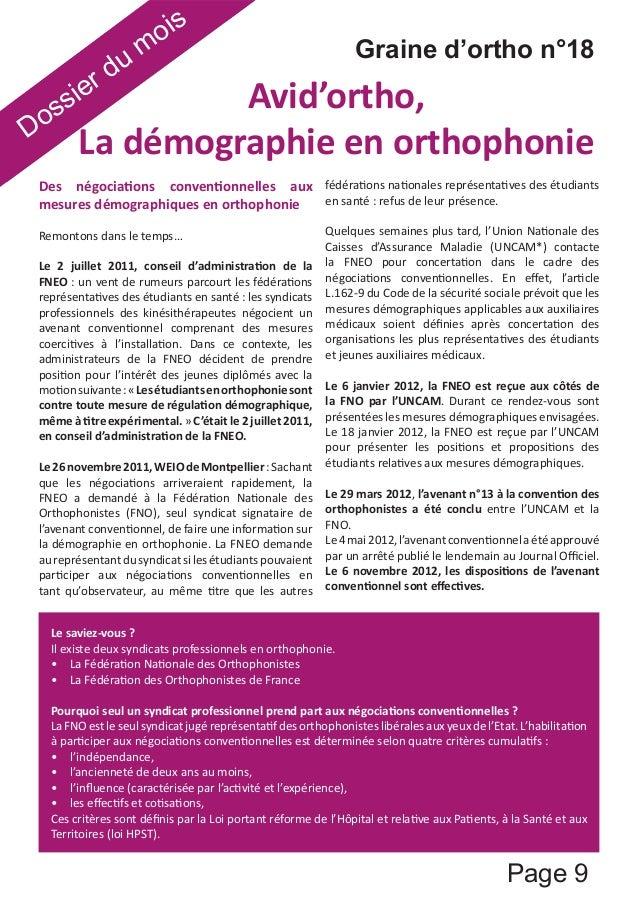 Graine d'ortho n°18  Page 9  Dossier du mois  ǀŝĚ͛ŽƌƚŚŽ͕  ĂĚĠŵŽŐƌĂƉŚŝĞĞŶŽƌƚŚŽƉŚŽŶŝĞ  ĞƐ ŶĠŐŽĐŝĂƟŽŶƐ ĐŽŶǀĞŶƟŽŶŶĞůůĞƐ ĂƵdž  ŵ...