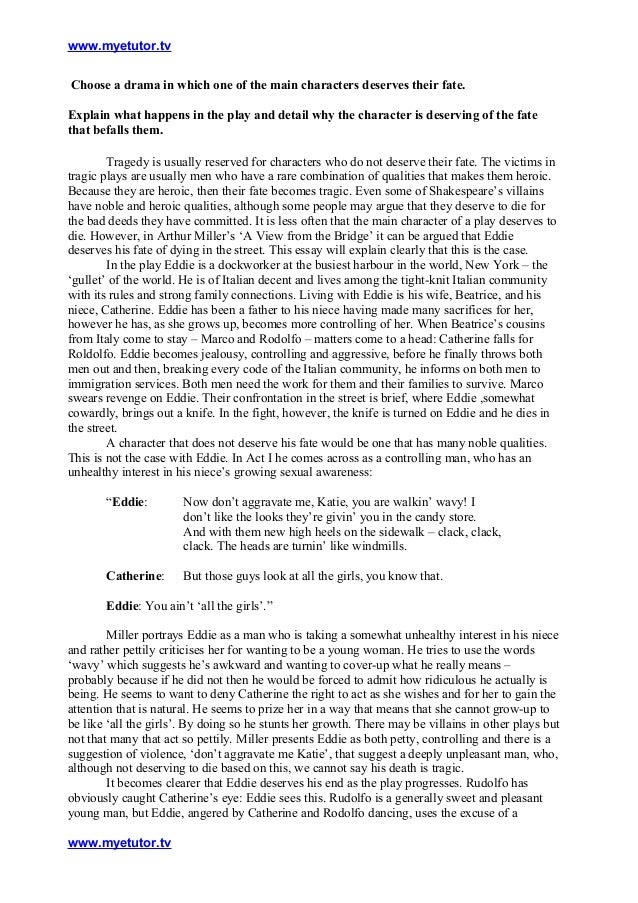 a view from the bridge eddie and catherine essay Read this english essay and over 88,000 other research documents a view from the bridge analysis the story centers around the house of eddie, a.