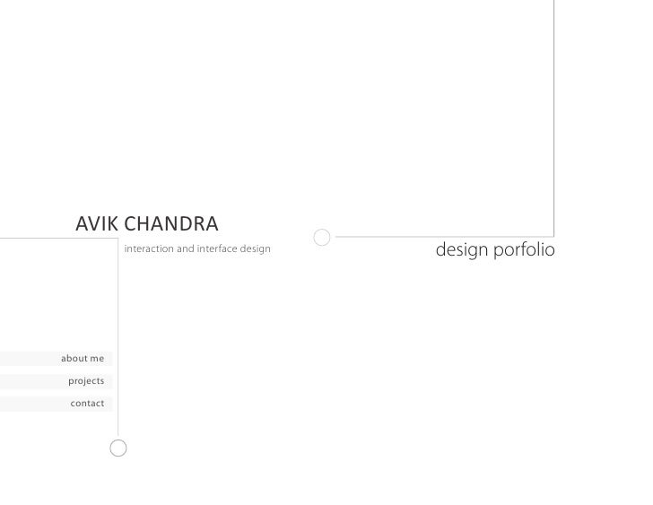 AVIK CHANDRA             interaction and interface design   design porfolio     about me   projects   contact