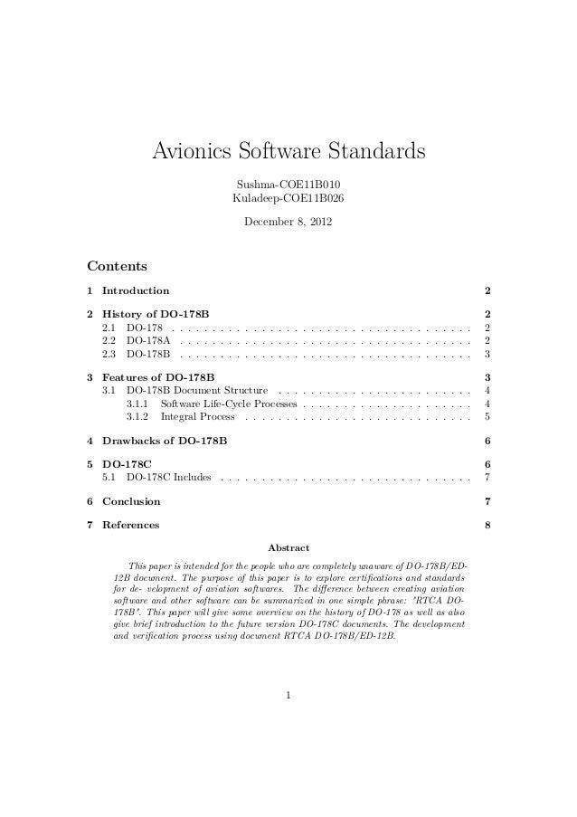 Avionics Software Standards                                 Sushma-COE11B010                                 Kuladeep-COE1...