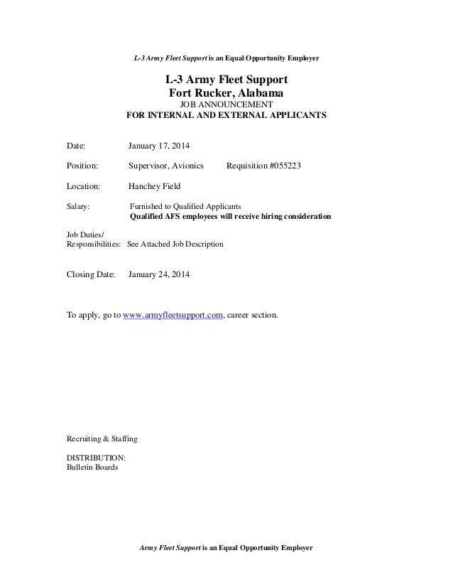 L-3 Army Fleet Support is an Equal Opportunity Employer  L-3 Army Fleet Support Fort Rucker, Alabama JOB ANNOUNCEMENT FOR ...