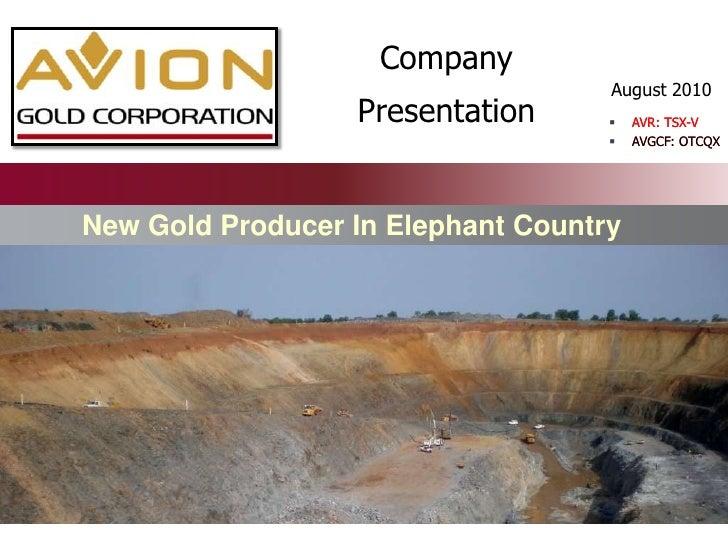 Avion Corporate Presentation - Aug 2010