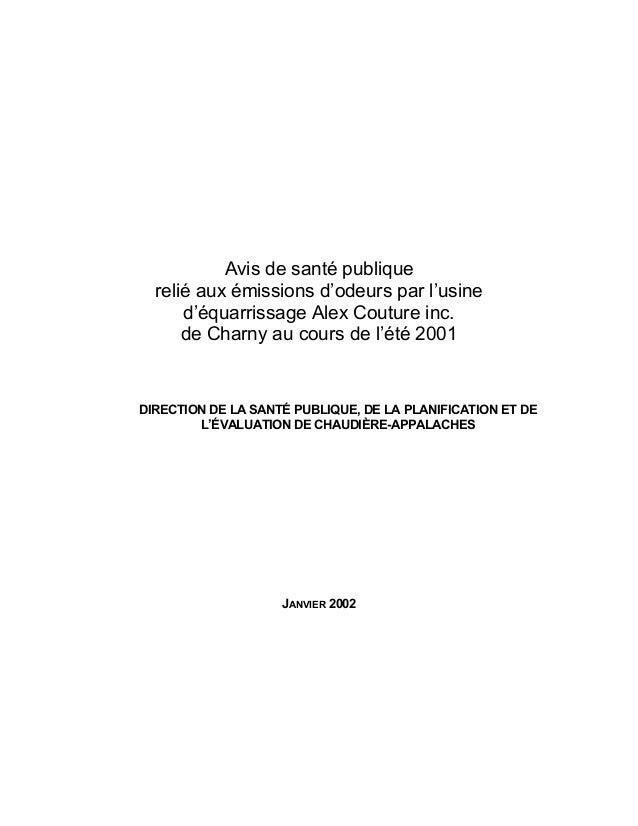 Avis de santé publique  relié aux émissions d'odeurs par l'usine      d'équarrissage Alex Couture inc.      de Charny au c...