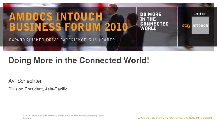 Doing More in the Connected World!  Avi Schechter Division President, Asia-Pacific             © 2010 – Proprietary and Co...
