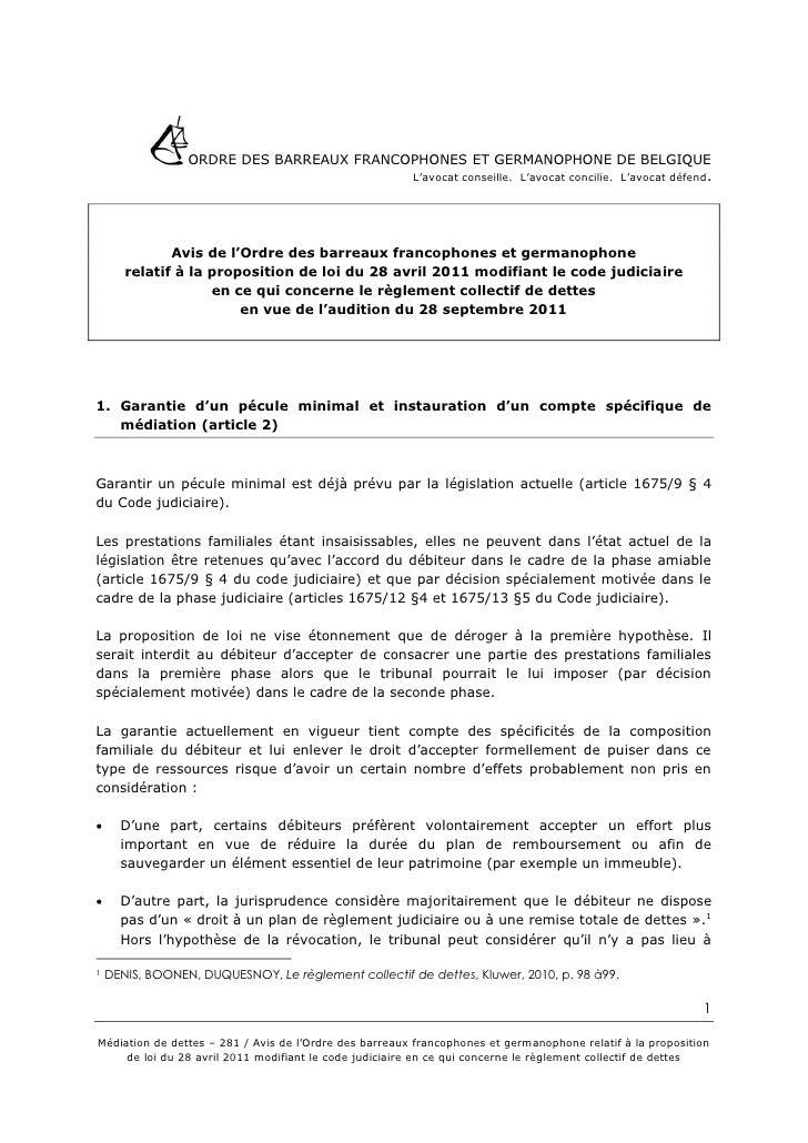 ORDRE DES BARREAUX FRANCOPHONES ET GERMANOPHONE DE BELGIQUE                                          L'avocat conseille. L...