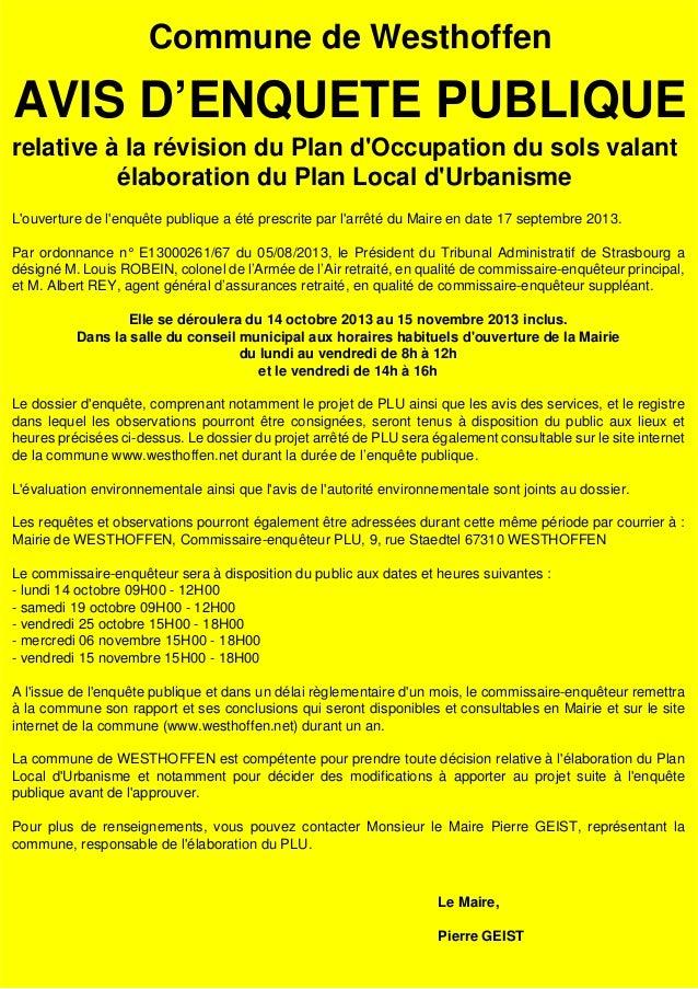 Commune de Westhoffen  AVIS D'ENQUETE PUBLIQUE relative à la révision du Plan d'Occupation du sols valant élaboration du P...