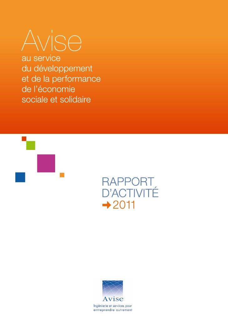 Rapport d'activité Avise 2011