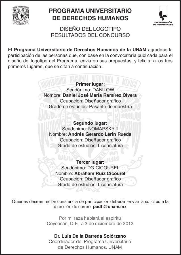 PROGRAMA UNIVERSITARIO                     DE DERECHOS HUMANOS                       DISEÑO DEL LOGOTIPO                  ...