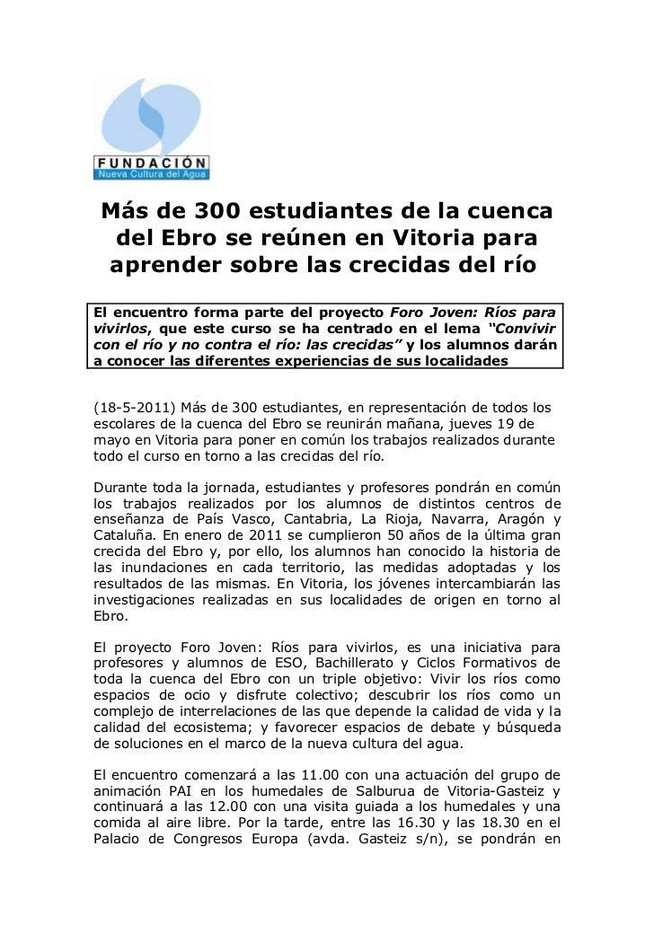 Más de 300 estudiantes de la cuenca  del Ebro se reúnen en Vitoria para aprender sobre las crecidas del ríoEl encuentro fo...