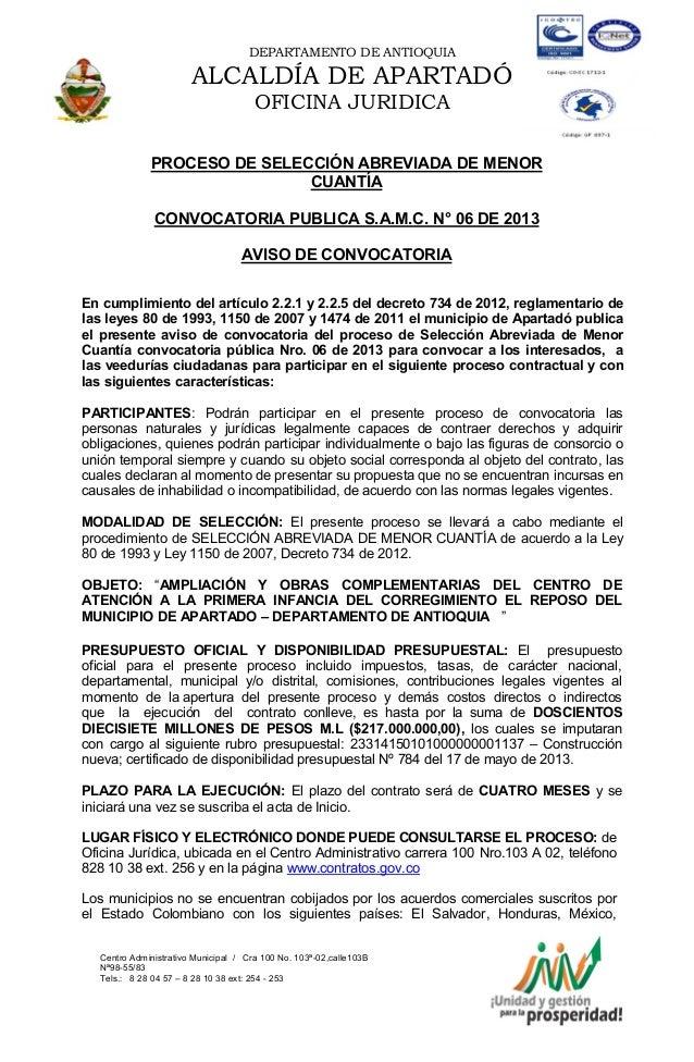 DEPARTAMENTO DE ANTIOQUIAALCALDÍA DE APARTADÓOFICINA JURIDICACentro Administrativo Municipal / Cra 100 No. 103ª-02,calle10...