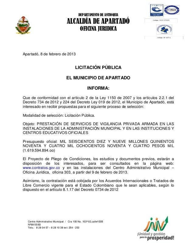 DEPARTAMENTO DE ANTIOQUIA                                  ALCALDÍA DE APARTADÓ                                           ...