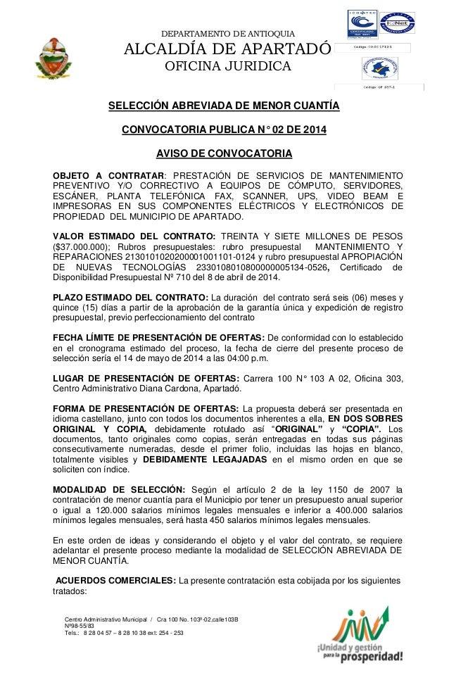 DEPARTAMENTO DE ANTIOQUIA ALCALDÍA DE APARTADÓ OFICINA JURIDICA Centro Administrativo Municipal / Cra 100 No. 103ª-02,call...