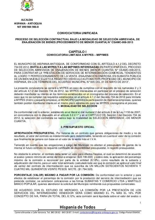 ALCALDIA HISPANIA - ANTIOQUIA NIT 890 984 986-8 CONVOCATORIA UNIFICADA PROCESO DE SELECCIÓN CONTRACTUAL BAJO LA MODALIDAD ...