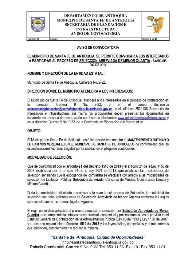 DEPARTAMENTO DE ANTIOQUIA MUNICIPIO DE SANTA FE DE ANTIOQUIA SECRETARIA DE PLANEACION E INFRAESTRUCTURA AVISO DE COVOCATOR...