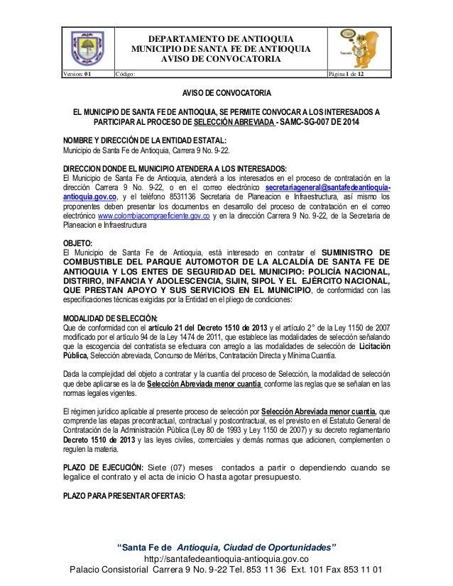 """DEPARTAMENTO DE ANTIOQUIA MUNICIPIO DE SANTA FE DE ANTIOQUIA AVISO DE CONVOCATORIA Version: 01 Código: Página 1 de 12 """"San..."""