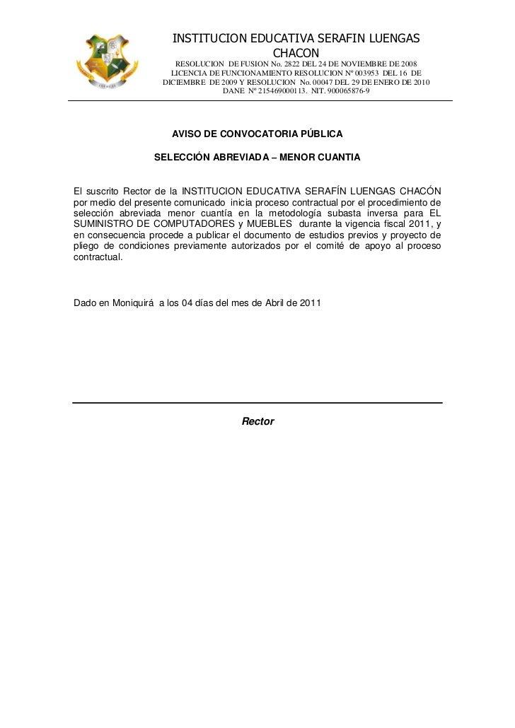 INSTITUCION EDUCATIVA SERAFIN LUENGAS                                     CHACON                       RESOLUCION DE FUSIO...