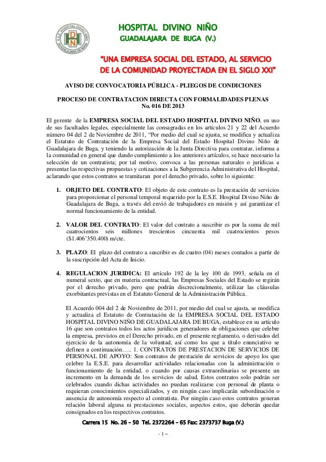 """HOSPITAL DIVINO NIÑO GUADALAJARA DE BUGA (V.) """"UNA EMPRESA SOCIAL DEL ESTADO, AL SERVICIO DE LA COMUNIDAD PROYECTADA EN EL..."""