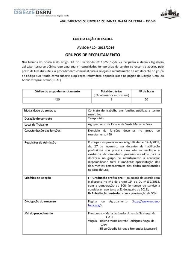 AGRUPAMENTO DE ESCOLAS DE SANTA MARIA DA FEIRA – 151660 CONTRATAÇÃO DE ESCOLA AVISO Nº 10 - 2013/2014 GRUPOS DE RECRUTAMEN...