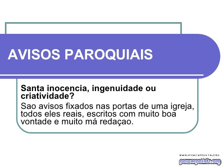 Avisos Paroquiais Hilario Portaldarte